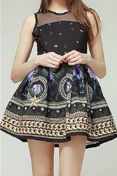 Vintage Purple Butterfly Print Party Dress - OASAP.com