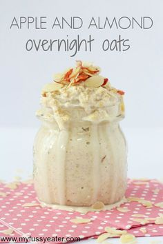 A tasty and healthy recipe for overnight oats with grated apple and almond butter    #recipe #Healthy @xhealthyrecipex  