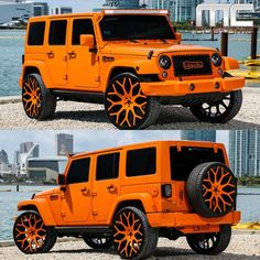 Jeep Wrangler; okay, now i love orange, but this might be over kill for me. lol