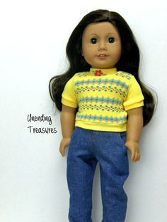 18 inch doll clothes AG doll clothes Girl doll clothes yellow sweater top and jeans