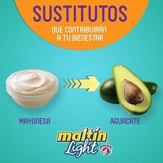 El aguacate proporciona sólo una cuarta parte de las calorías que tiene la mayonesa, junto con una dosis de grasas monoinsaturadas saludables, más fibra y vitaminas importantes como el ácido fólico.  Añadiendo aguacate a tus sándwiches o ensaladas, obtendrás la consistencia suave que sustituye a la mayonesa.  Maltin Polar Light