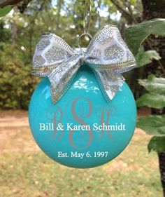 Designs by K and J - Monogrammed Personalized Couples Glass Disc Tree Ornament, $10.00 (http://www.designsbykandj.com/monogrammed-personalized-couples-glass-disc-tree-ornament/)