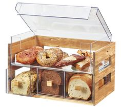 3624-60 (Bamboo) 3624-96 (Midnight Bamboo) 3624-99 (Reclaimed Wood)   Bread Displays The Bamboo Bread Display is the perfect way to neatly organize breads! It includes 3 drawers for loaves of bread,and a top section for bagels or other pastries. The side cutouts allow light to fill in the case so guests can see in perfectly!