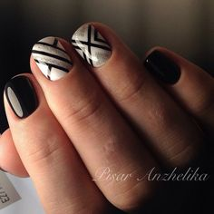 Royal Geometric Nail Art. If you have short nails, this geometric nail art is a perfect fit for your nails that do not require that much of the room.
