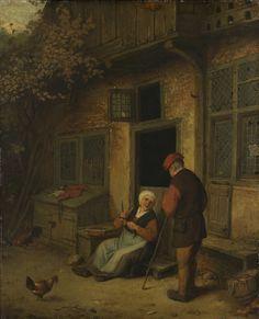 Een vrouw haring schoonmakend voor een huis, kopie naar Adriaen van Ostade, ca. 1650 - ca. 1700