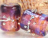 Beads, made to order, purple violet pink yellow gold copper bronze silver opal, large barrel tube lampwork glass pair sra