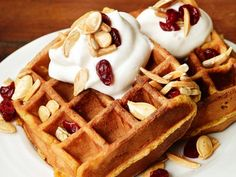 Pumpkin Waffles with Trail Mix Topping