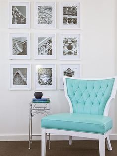 Black-and-White photo gallery wall w/ a bright mint green chair