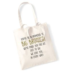 Big brother survival kit tote bag promoted we love you in every way poem newborn sibling sister cute family daughter son mum dad parent 279 by FloxCreative on Etsy https://www.etsy.com/listing/242269542/big-brother-survival-kit-tote-bag