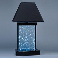 Midwest Tropical  Designer Water Panel Tabletop Bubbling Aqua Table Lamp