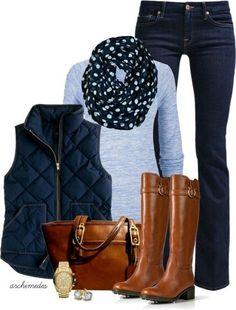 Para el otoño Las mallas largos, el chaleco azul marino, las botas café, la bolsa cara, la bufanda floja, la camiseta azul,