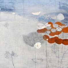 """""""Cloud Garden, Japanese Anenome"""" by Maggie Matthews,  mixed media on canvas, 100 x 100cm, £2950."""