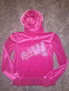 Victoria's Secret Santa Baby Pink Hoodie Velour Jacket Sweatshirt Size Medium VS  | eBay