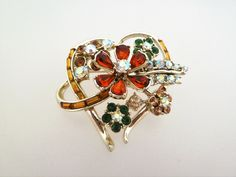 Floral Heart Vintage Brooch with Green Amber and Aurora Borealis Rhinestones (10.00 GBP) by jewelbirdvintage