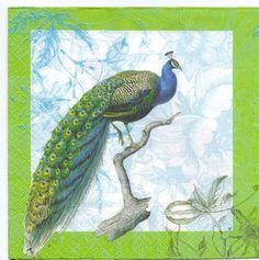 resplendent ornament   Decoupage Napkins Resplendent Peacock in shades of by Chiarotino