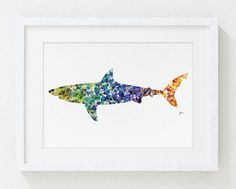 Geometric Shark Painting  Colorful Watercolor Art  by ElfShoppe