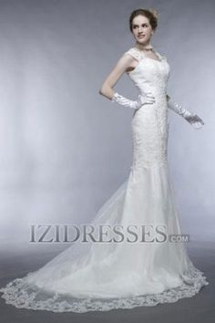 Trumpet/Mermaid Princess Square Lace Organza A-Line Wedding Dresses