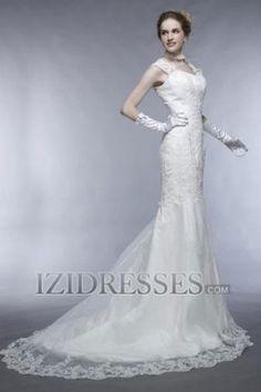 Trumpet/Mermaid Princess Square Lace Organza A-Line Wedding Dresses