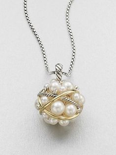 David Yurman - Diamond & 18K Gold Accented 3.5MM-7MM White Round Freshwater Pearl Bubble Pendant Necklace - Saks.com