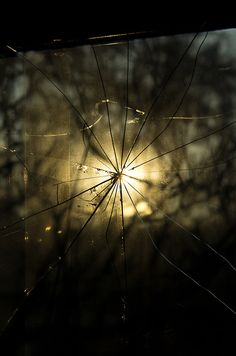 light thru the broken glass.
