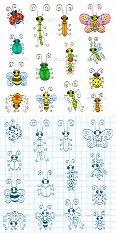 Cute little bug and insect doodles. Great for journalling, stickers or just to pass time on a scrap piece of paper. Of course I love my Strathmore paper. 400 series or even just the sketch book. Doodle Drawings, Easy Drawings, Doodle Art, Bird Doodle, Art For Kids, Crafts For Kids, Happy Paintings, Rock Crafts, Art Plastique