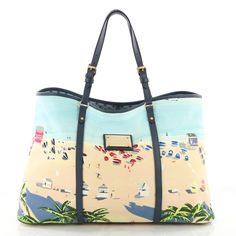 2c1e184d033f This is an authentic LOUIS VUITTON Ailleurs Cabas Escale PM NEW. This  stylish tote is crafted of a decorative canvas featuring a sunny seaside  resort scene.