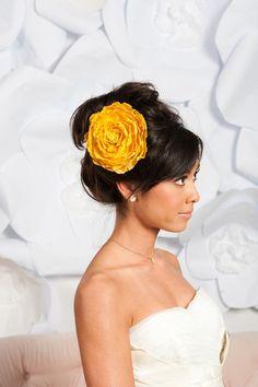 large yellow flower fascinator