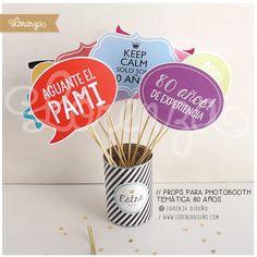 CUMPLE 80 AÑOS! / props para photoboth / Diseños personalizados. www.lorenzadiseño.com