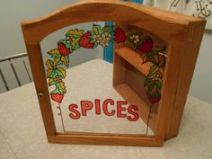 """Vintage Wood Spice Cabinet With Stained Glass Strawberries on Glass Door/ 11 1/2"""" X 11 1/2"""" by RadiogirlCarolyn on Etsy"""
