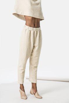 cream tan nude loose slouch minimal, Holland Pant top slub texture