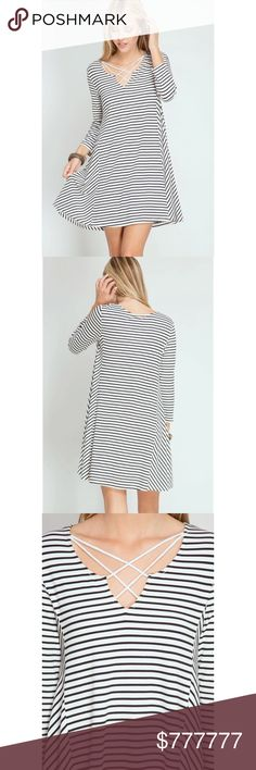 Cross front dress COMING SOON!!! This striped swing dress is a summer staple! 3/4 sleeve made out of 70% cotton 30% rayon Dresses Mini