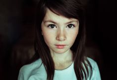 daughter - child portrait, expressive eyes of a little girl