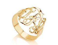 Monogram Ring -Gold over Silver Monogram Ring-Initial Ring - 11 Main