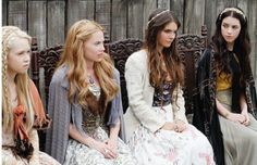 """Reign - """"Hearts and Minds"""" - Pictured (L-R): Jenessa Grant as Aylee, Celina Sinden as Greer, Caitlin Stasey as Kenna, and Adelaide Kane as Mary, Queen of Scots Reign Show, Reign Cast, Mary Stuart, Adelaide Kane, Reign Episodes, Reign Season 1, Celina Sinden, Reign Serie, Caitlin Stasey"""