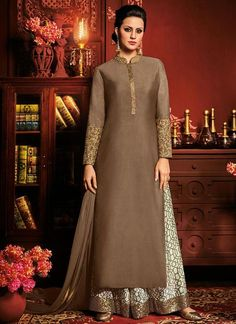 Brown Art Silk Embroidered Palazzo Suit