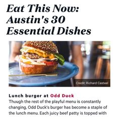"""158 Likes, 3 Comments - Odd Duck (@oddduckaustin) on Instagram: """"Our burger makes the @zagat #dirtythirty list! 🍔3️⃣0️⃣ #lunchonly #mostimportantmealoftheday"""""""