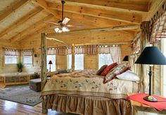 Log Cabin Bedroom | The Original Log Cabin Homes Interior Tour Showcase