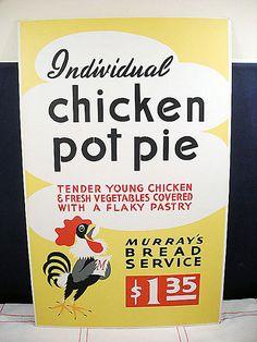 Chicken Pot Pie - Vintage Menu Poster Sign