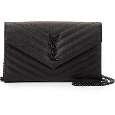 Saint Laurent Monogram Grainy Leather Wallet-on-Chain (5 930 PLN) via Polyvore featuring bags, wallets, black, black leather bag, black leather wallet, leather bags, genuine leather wallet i leather snap wallet