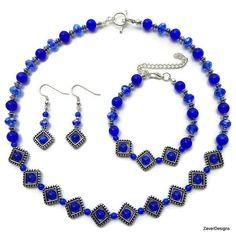 Blue Jewelry Set Blue Jewelry Blue Earrings Blue by ZaverDesigns