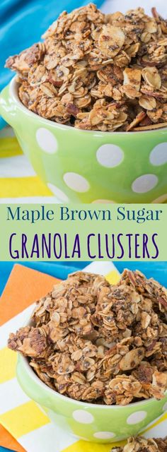 Maple Brown Sugar Granola Clusters - this easy granola recipe is great for breakfast or a healthy snack as a crunchy topping for your yogurt! Gluten free, dairy free, and vegan.
