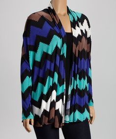 Another great find on #zulily! Blue Chevron Open Cardigan - Plus #zulilyfinds