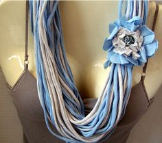 Light Blue Infinity Scarf Necklace with Removable Flower Baby Blue T Shirt Scarf Made From Recycled T Shirts Multiple Ways to Wear