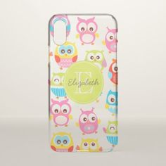 #Cute Litte Owls Monogrammed iPhone X Case - #girly #iphone #cases