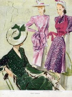 1945, Balenciaga Summer Dresses, Jeanne Lafaurie, Mad Carpentier.