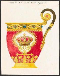 Dessin pour une tasse à chocolat - Drawing for a chocolate cup - Manufacture de Sèvres - 1814    http://www.culture.gouv.fr/Wave/image/joconde/0743/m501901_0035466_p.jpg