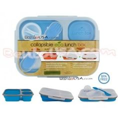 Microwavable Collapsible Silicone Lunch Box 3 compartments Blue