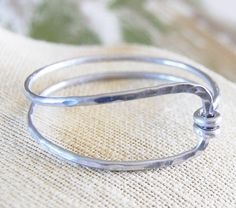 Silver. Aluminum. Hammered. Wrap. Bangle. Bracelet.. would be cute as a ring too!