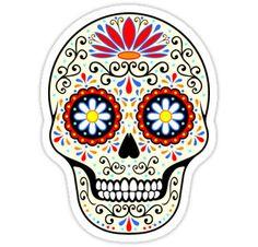 'sugar skull' Sticker by PerlaV Totenkopf Tattoos, Sugar Skull Art, Sugar Scull, Skull Illustration, Macbook Stickers, Create Invitations, Mexican Skulls, Flower Svg, Hippie Art