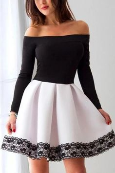 Long Sleeve White and Black A Line Short Prom Dress Lace White Prom Dresses, Prom Dress, Black Prom Dresses, Prom Dresses Lace, Prom Dresses Short Short Homecoming Dresses Long Sleeve Homecoming Dresses, Cheap Short Prom Dresses, Black Party Dresses, Prom Dresses With Sleeves, Dress Prom, Long Dresses, 1950s Dresses, Prom Gowns, Dance Dresses